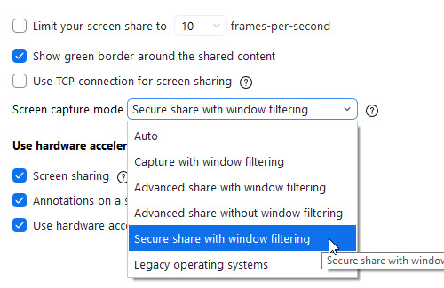 zoom setting screen share advanced screen capture mode window filtering