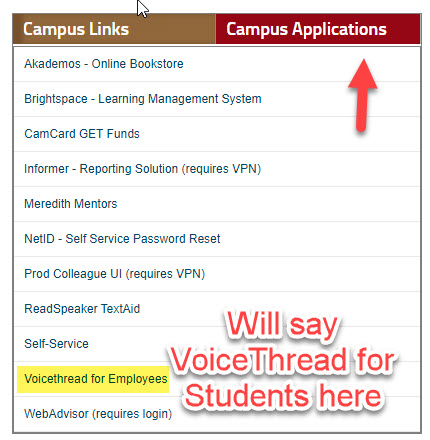 my meredith student page campus application block