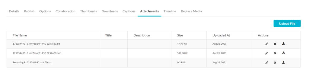 kaltura edit screen attachments tab options