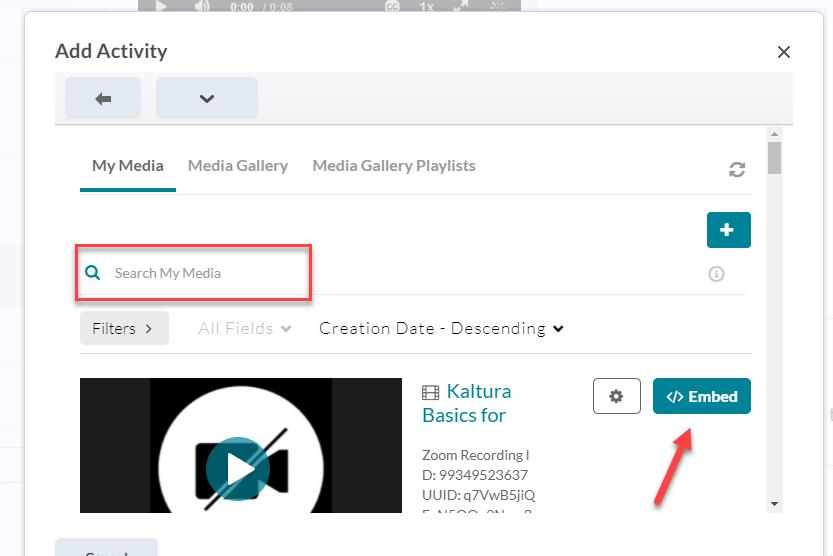 kaltura embed content popup box