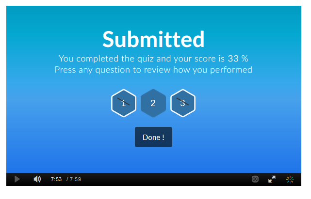 kaltura submitted video quiz with 33 percent correct