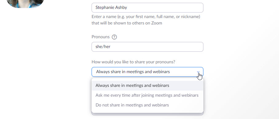 zoom profile pronoun settings