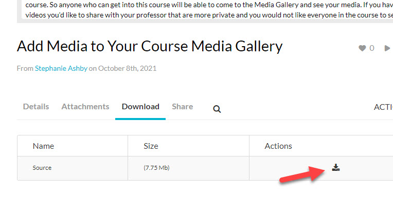 kaltura viewer video download option
