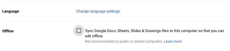 How to change google docs to offline