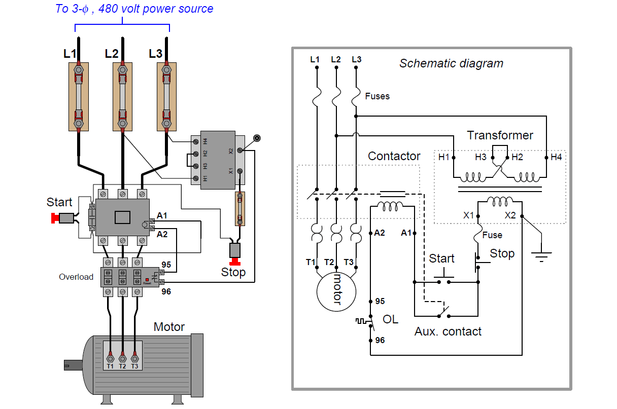 Power And Control Schematic Diagrams Of A Starter Dol