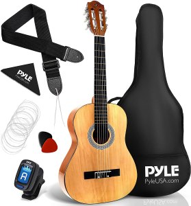 """Pyle 36"""" Classical Acoustic Guitar-3/4 Junior Size 6 Linden Wood Guitar w/Gig Bag, Tuner, Nylon Strings, Picks, Strap, for Beginners, Adults, Right, Natural"""