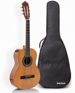Classical Guitar with Soft Nylon Strings by Hola! Music, Full Size 39 Inch Model HG-39GLS, Natural Gloss Finish