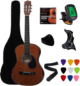 """Vizcaya 38"""" Coffee Beginner Left-Handed Acoustic Guitar Starter Package Student Guitar with Gig Bag, Strap, Picks, Extra Strings, Electronic Tuner -Coffee Left-Handed"""