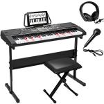 Smartxchoices 61-Key Portable Electronic Keyboard Piano Kit LCD Display w/Stand, Stool, Headphones, Microphone & Sticker Sheet