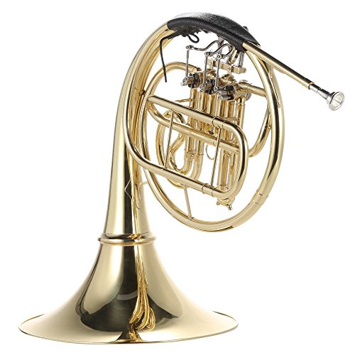 ammoon French Horn B/BB Flat 3 Key Brass Gold Lacquer Single-Row Split Wind Instrument with Cupronickel Mouthpiece Case, Barbell 1