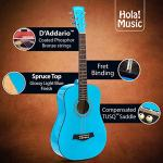 3/4 Size (36 Inch) Acoustic Guitar Bundle Junior/Travel Series by Hola! Music with D'Addario EXP16 Steel Strings, Padded Gig Bag, Guitar Strap and Picks, Model HG-36LB, Light Blue 2