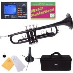 Mendini MTT-BK Black Lacquer Brass Bb Trumpet + Tuner