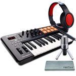 M-Audio Oxygen 25 MK IV USB Pad/MIDI Keyboard Controller with Samson Meteor Mic USB Studio Condenser Microphone and Accessory Bundle