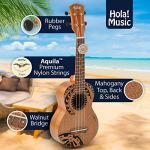 Hola! Music HM-121TT+ Laser Engraved Mahogany Soprano Ukulele Bundle with Aquila Strings, Padded Gig Bag, Strap and Picks – Tribal Tattoo 1