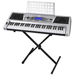 "61 Key LCD Display Electronic Keyboard 37"" w/Black Adjustable X-Stand Piano"