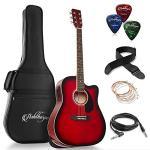Ashthorpe Full-Size Dreadnought Cutaway Acoustic-Electric Guitar Bundle – Premium Tonewoods – Red