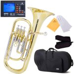 Mendini Intermediate Brass B Flat Baritone with Stainless Steel Pistons
