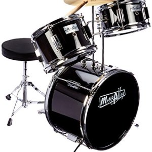 Music Alley Kids 3 Piece Beginners Drum Kit, Black