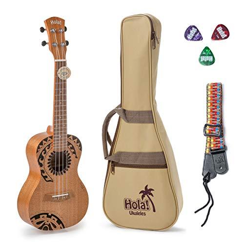 Hola! Music Laser Engraved Mahogany Concert Ukulele Bundle