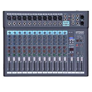 ammoon 12-Channel Mixing Console Mixer Built-in 16 DSP Effects