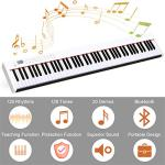 Costzon BX-II 88-Key Portable Touch Sensitive Digital Piano, Upgraded Electric Keyboard with MIDI/USB Keyboard, Bluetooth, Dynamics Adjustment, Sustain Pedal, Power Supply, and Black Handbag (White) 2