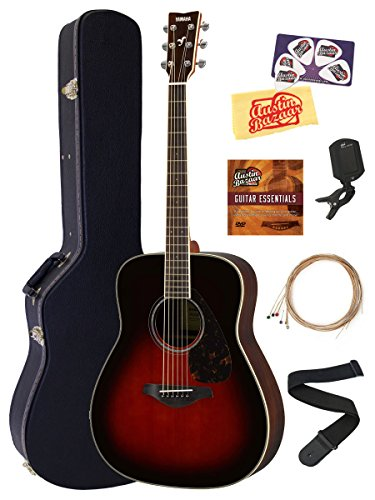 Yamaha Solid Top Folk Acoustic Guitar - Tobacco Sunburst Bundle with Hard Case