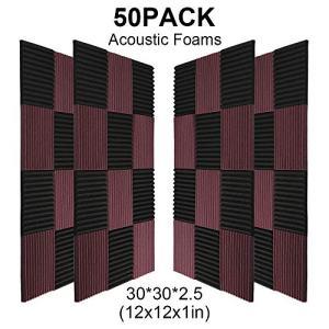50 Pack -Black&Coffee Acoustic Panels Studio Foam Wedges