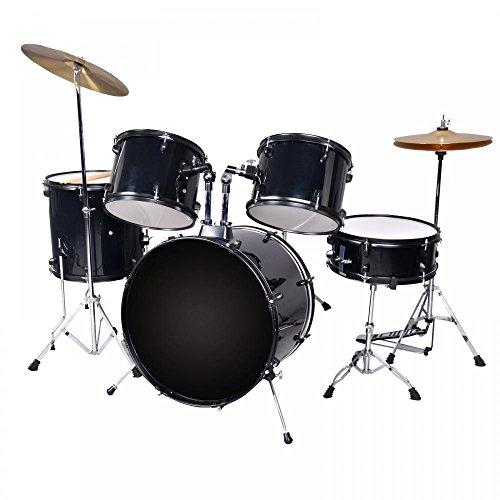 New Black Drum Set 5 PC Complete Adult Set Cymbals Full Size Adult Drum Set