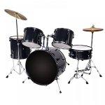 New Black Drum Set 5 PC Complete Adult Set Cymbals Full Size Adult Drum Set J05