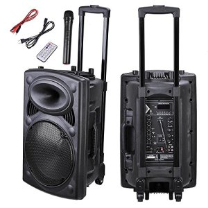 AW Portable 120W Active PA Speaker Mic Guitar AMP Bluetooth USB