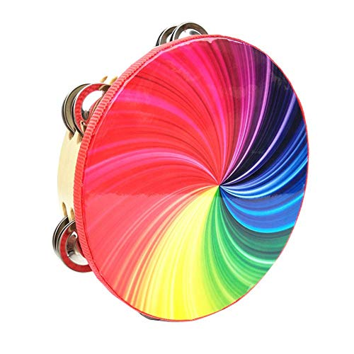 Bestmemories Percussion Instrument 8 Inch Double Row Colorful Tambourine Rainbow Tambourine Hand Drums Stage Props for Students Children Kids Playing