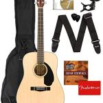 Dreadnought Acoustic Guitar – Natural Bundle with Gig Bag, Tuner, Strap, Strings, Picks