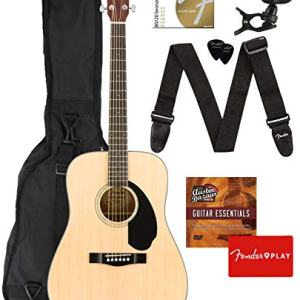 Dreadnought Acoustic Guitar - Natural Bundle with Gig Bag, Tuner, Strap, Strings, Picks