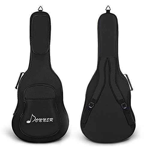 Donner 41 Inch Acoustic Guitar Gig Bag 0.5in Padding Sponge 600D Thick Ripstop Waterproof Nylon Soft Guitar Carry Case for Home Storage Travel 3 Pockets Dual Adjustable Straps Black