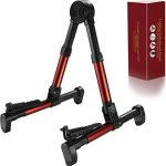 Guitar Stand for Acoustic/Electric/Classical Guitars and Violin, Ukulele, Bass, Banjo, Mandolin -Folding, Portable & Lightweight- Fits Gibson/Fender/Taylor/Yamaha (Metallic Red)