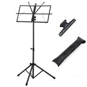 Moukey Sheet Music Stand, Adjustable Folding Metal Music Stand With Music Sheet Clip Holder and Carrying Bag Suitable for Instrumental Performance (Black)-MMS-2