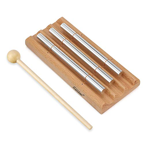 Meditation Chime Trio, Eastar 3 Tone Yoga Bell Energy Chime Three Tone for Classroom Management with Mallet and Cloth Bag Percussion Instrument for Prayer Eastern Energies Mindfulness