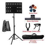 YDisplay Sheet Music Stand Portable Folding Music Holder with Guitar Hanger Capo Picks Suitable for Instrumental Performance Carring Bag,Black