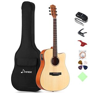 Full-size Guitar Bundle Built-in Preamp with Bag Strap Tuner String
