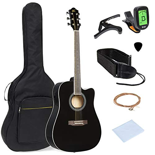 Best Choice Products 41in Full Size Acoustic Electric Cutaway Guitar Set w/Capo, E-Tuner, Bag, Picks, Strap - Black