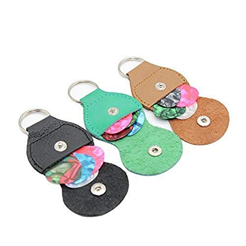 Guitar Pick holder Case 3 Pack Key Chain With 12 Guitar Picks