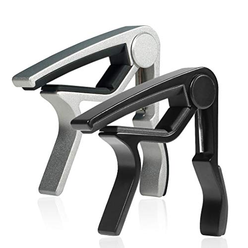 WINGO 6 String Single-handed Guitar Capo For Acoustic Electric Guitar - 2 Pack of Black and Silver