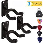 Guitar Wall Mount Hanger Hook Holder Stand 3 Pack Guitar Hangers Hooks for Acoustic Electric and Bass Guitars (3Pack-Black)
