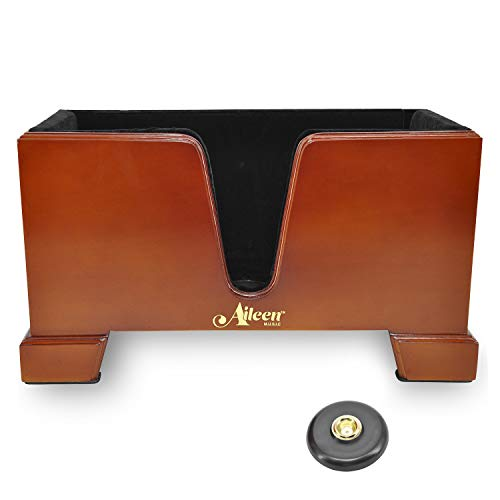 Aileen 4/4 Wooden Cello Box Stand Including Bow Holder with Anti-Slip Mat