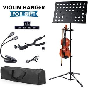 Klvied Sheet Music Stand with Violin Hanger, Folding Music Stand, Portable Fortable Music stand for Sheet Music, Violin Music Stand with Travel Case, Light, Black