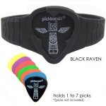Pickbandz PRO Guitar Pick Holder Silicone Wristband in Black Raven - M to L fit - Designed to hold up to 7 Picks!