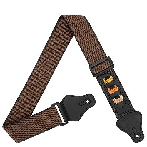 BestSounds Guitar Strap,100% Soft Cotton Guitar Strap with 3 Pick Holders Shoulder Strap For Bass Electric & Acoustic Guitars (Coffee)