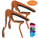 Guitar Capo for Acoustic Guitar (2 Pack), Rosewood Color Acoustic Capo with 5 Picks for Nylon Steel String without Fret Buzz, Acoustic Guitar Capo for 6 String Guitar, Electric Guitar, Bass