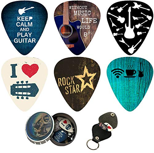 Cool Guitar Picks 12 Pack W/Tin Box & Picks Holder. Celluloid Medium Cool Picks an Awesome Gift for Men & Women Guitarists For Acoustic Electric and Bass Guitars