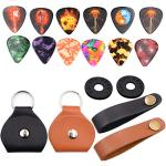 Guitar pick Holder Case Leather Keychain and Guitar picks Guitar Strap Locks (Combination)